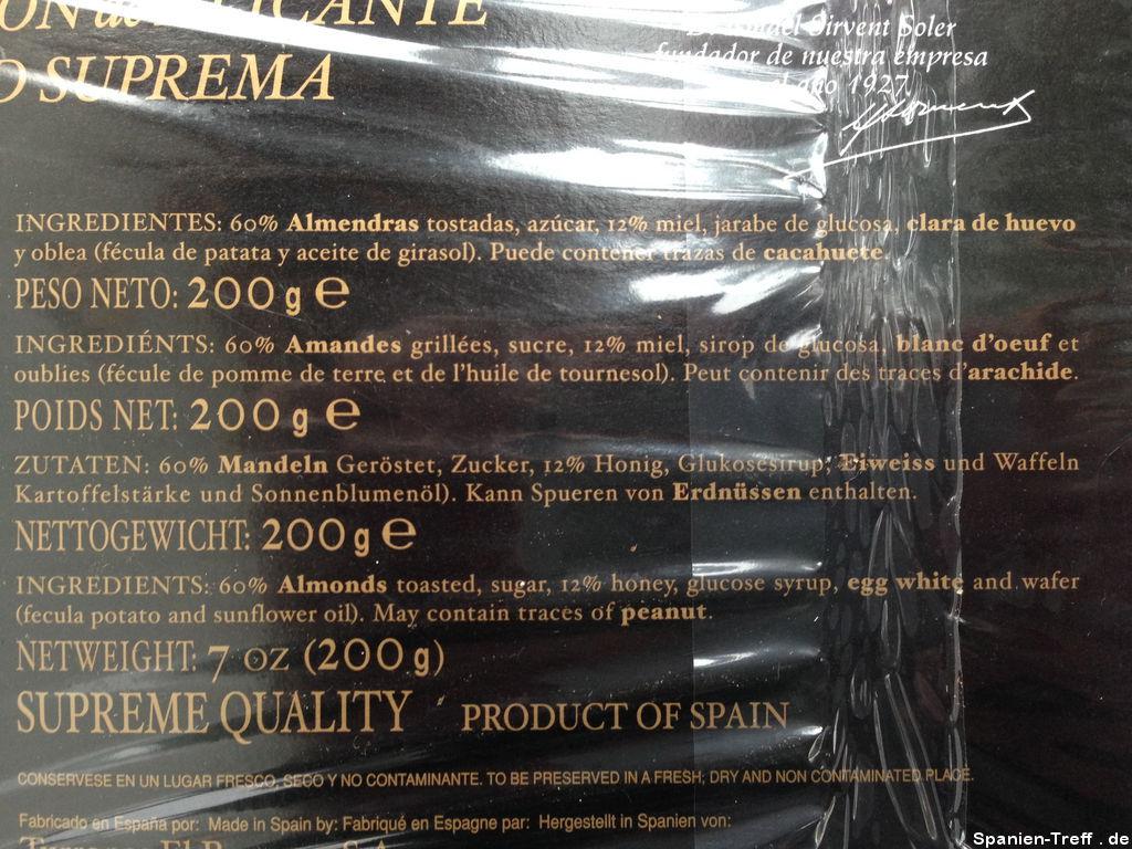 Zutaten zu Torta Turrón de Alicante - El Romero