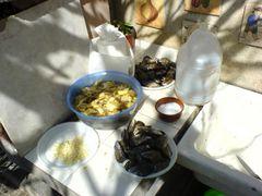 Miesmuscheln, Salz, Knoblauch und Artischocken für die Paella