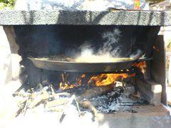 Dampfende Paella