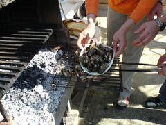 Legen der Miesmuscheln/Mejillones auf den Grill