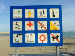 Gebotsschild am Strand