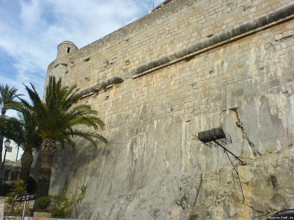 Stadtmauer mit Palmen bei Peñíscola