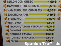 Spanische Speisekarte mit deutschen Gerichten